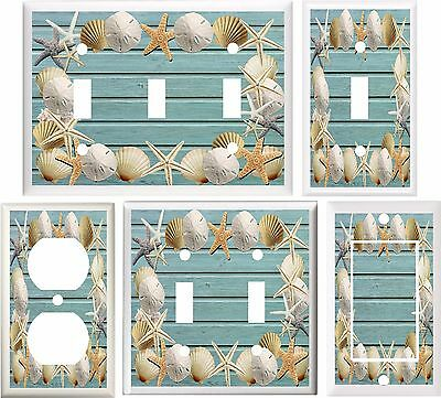 Seashells On Beach Blue Wood Light Switch Cover Plate Or Outlet V803