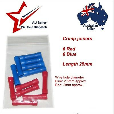 Cable Joiner Butt Crimp Terminal 12Pcs Red & Blue 2mm 12v volt wire joiners auto
