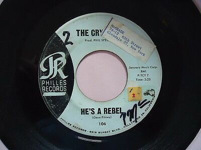"""THE CRYSTALS  """"HE'S A REBEL""""   45 RPM Vinyl  Record  music  """"I LOVE YOU EDDIE"""""""