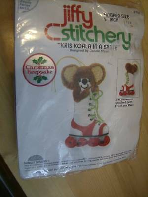 Jiffy Stitchery Kris Koala In A Skate Crewel Embroidery Kit -5 Inches High Finis