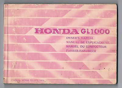 Honda Gl 1000 Owners Manual 1975 Good Condition