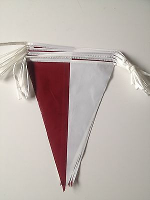 Maroon / white indoor/outdoor pvc bunting 10m/33ft long