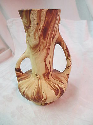 Vtg 1950's Colorado Art Pottery Pine Scented 2 handled Vase brown swirl ROMCO