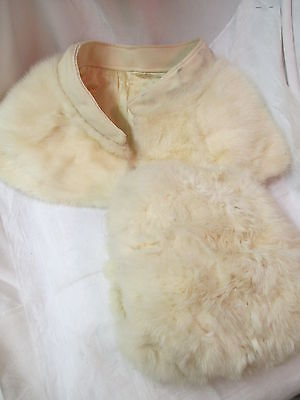 Vintage white Fur Collar and Muff