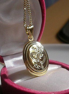 Stunning 9Ct Gold Locket On Chain Necklace Gf Silly Silly Clearance Price {098}