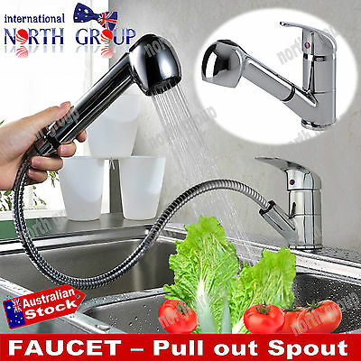 Chrome Kitchen Basin Sink Faucet Pull-Out Spray Swivel Spout Mixer Laundry Tap