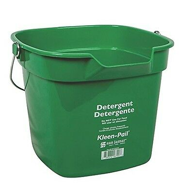 San Jamar KP320 Green Kleen Pail Container, 10qt Capacity, For Cleaning Solut...