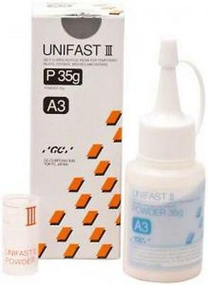 UNIFAST III GC POLVO A3 35 gr. DENTAL SELF-CURING RESIN FOR TEMPORARY INLAYS.