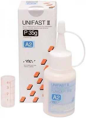 UNIFAST III GC POLVO A2 35 gr. DENTAL SELF-CURING RESIN FOR TEMPORARY INLAYS.