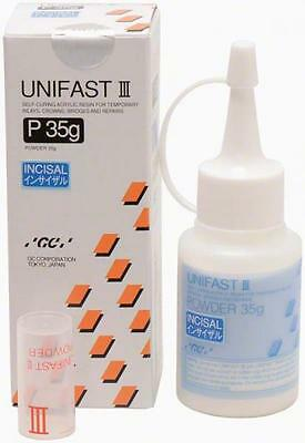 UNIFAST III GC POLVO INCISAL 35 gr. DENTAL SELF-CURING RESIN TEMPORARY INLAYS.