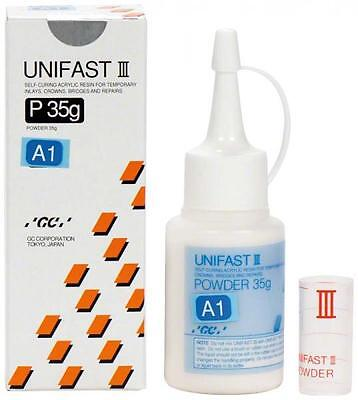 UNIFAST III GC POLVO A1 35 gr. DENTAL SELF-CURING RESIN FOR TEMPORARY INLAYS.