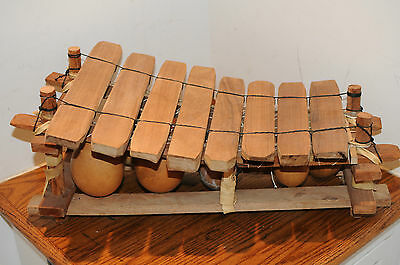 Vintage African Gourd Xylophone Percussion Mallet Percussion Musical Instrument.