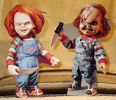 """2 - Chucky """"Child's Play"""" Horror Movie Figures Tabletop Display Standee Discount"""