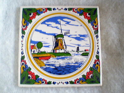 """Mosa Holland Ceramic Tile, 6"""" with Windmill Scene - COLORFUL- VERY GOOD"""