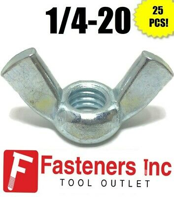 "(Qty 25) 1/4""-20 UNC Coarse Thread Wing Nut Zinc Plated Steel Nuts"