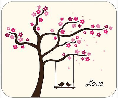 Mouse Pad Personalized Custom Thick Mousepad-Tree With Lovebirds-Add Text
