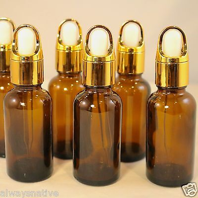 1oz Amber Glass Bottles for Essential Oils w/GOLD BASKET Dropper - Pack of 12