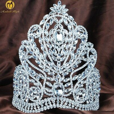 """Large 9"""" Tiara Crown Clear Rhinestone Headpiece Wedding Pageant Party Costumes"""