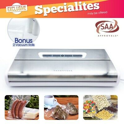 175w Stainless Steel Vacuum Food Sealer Machine SAA Bonus 10x Vacuum Bags 2xRoll