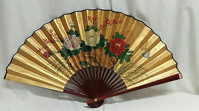 """Vintage Floral/Butterflies Handpainted Wall Hanging Deceptive Fan China 16"""""""