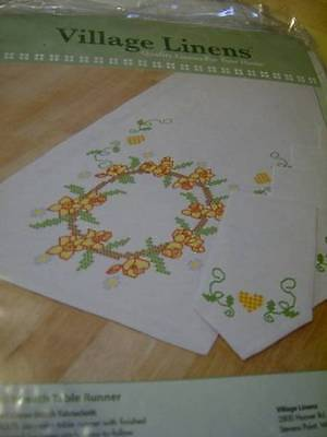 Village Linens Bridal Wreath Table Runner & Breadcloth Stamped Cross-Stitch