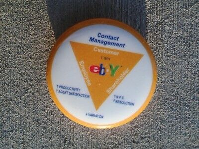 eBay OPEN collectible old logo pin back shareholder exclusive button rare Yellow