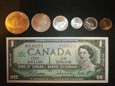 1967 Canadian Centennial Coin/note set Silver & half dollar are .800 silver MINT