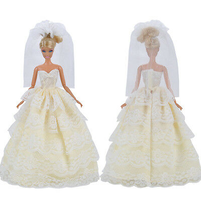 Fashion Handmade Wedding Evening Party Dress Clothes Gown Veil For Barbie Doll S
