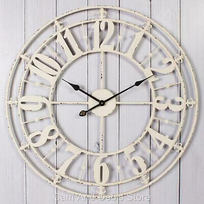 Large Iron Metal Wall Clock Shabby Chic French Provincial 76 cm Antique White