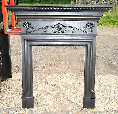 Antique Victorian Cast Iron Fire Place Fireplace Wood Stove Chimney Surround