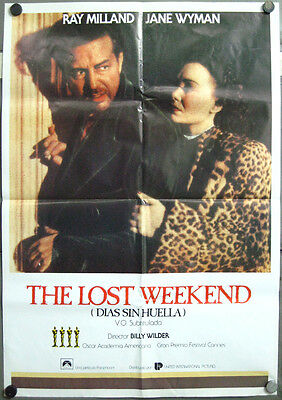 4VN09 THE LOST WEEKEND BILLY WILDER RAY MILLAND rare 1sh SPANISH POSTER
