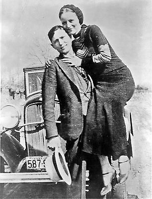 A3 SIZE - Bonnie and Clyde Bank Robbers Glossy B-W Photo Print ART POSTER