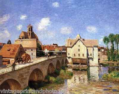 The Bridge at Moret by Sisley 8x10 Print French Country Town Water River Art 32