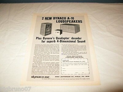 Vintage Dynaco A-10 Stereo Speakers PRINT AD from 1972