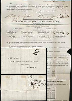Postage Due 1844 Scotland Leith Twopenny Handstamp Printed Letter New Years Eve