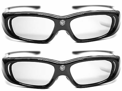 2x 3D Brille Hi-SHOCK DLP Pro 6G Black Space für Beamer Optoma Vivitec Viewsonic