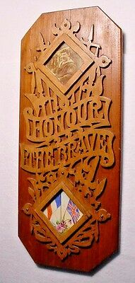 WWI Plaque-RNV Sailor Photo-UK French Flags-Honour The Brave-Intricate
