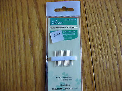 Clover #12 Quilting Needles