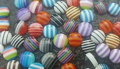 25x 10mm RESIN GUMBALL CABOCHONS MIXED COLOURS STRIPES STRIPED ROUND CARD MAKING