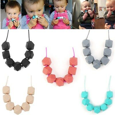 Baby Silicone Teething Necklace Teether Toy Bpa-Free Polygon Beads Chain Faddish
