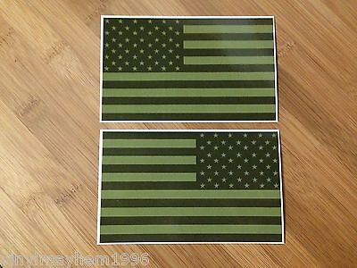 OD Green Battle Ready Set Subdued American Flag sticker decal SWAT Military