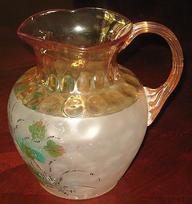 Pomona Pitcher Painted Bird Butterfly Amber Second Grind US Glass Antique 1890