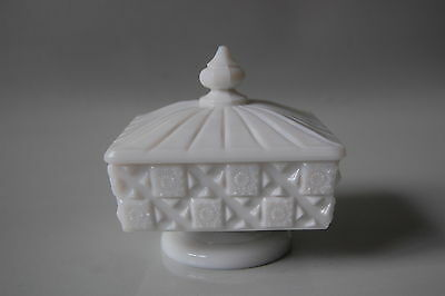 Westmoreland Glass Old Quilt Milk Glass Covered Lid Honey Dish Marked