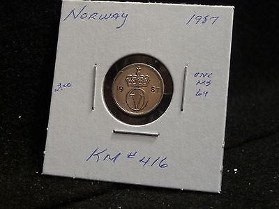 Norway:  1987  10 Ore  Coin     (Unc.)  (#880)  Km# 416