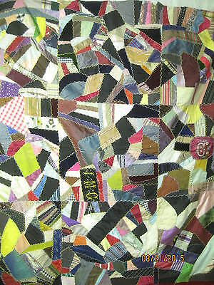 Antique Crazy Quilt Silks & Velvets Signed IMG hand embroidered & painted