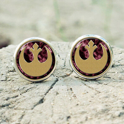 Star Wars Rebel Alliance Logo Stud Earrings Silver Dome Wedding Gift