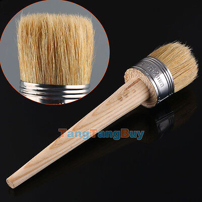 1 PC 50mm Wax Paint Wooden Handle Round Bristle Chalk Oil Painting Brush NEW