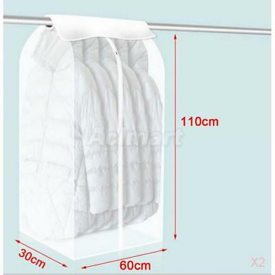 2x Coat Clothes Garment Suit Cover Bags Dustproof Hanger Storage Protector M