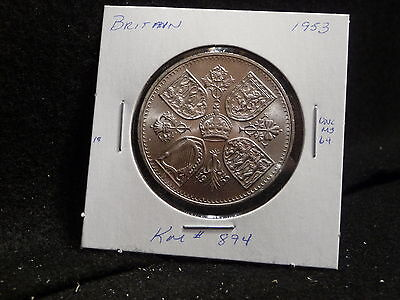 Uk (Great Britain):  1953  1 Crown  Coin  Gem   (Unc.)   (#1570) Km # 894