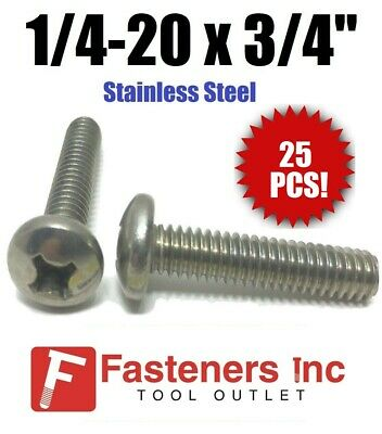 "(Qty 25) 1/4-20 x 3/4"" Phillips Pan Head Machine Screw Stainless Steel"